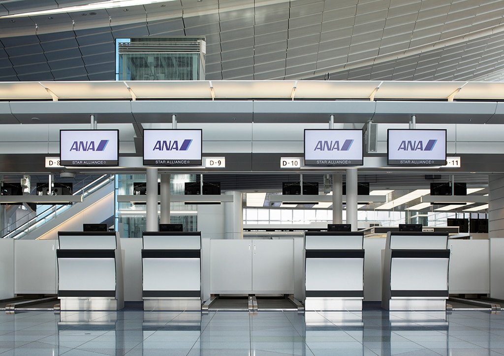 Image of the airport check-in counter