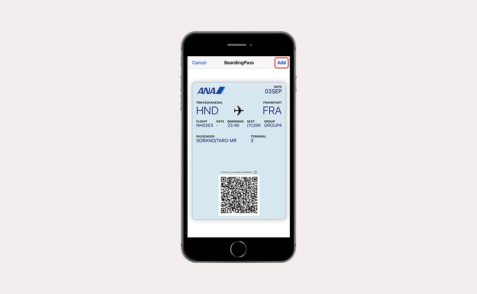 Image of registering the obtained pass with the app