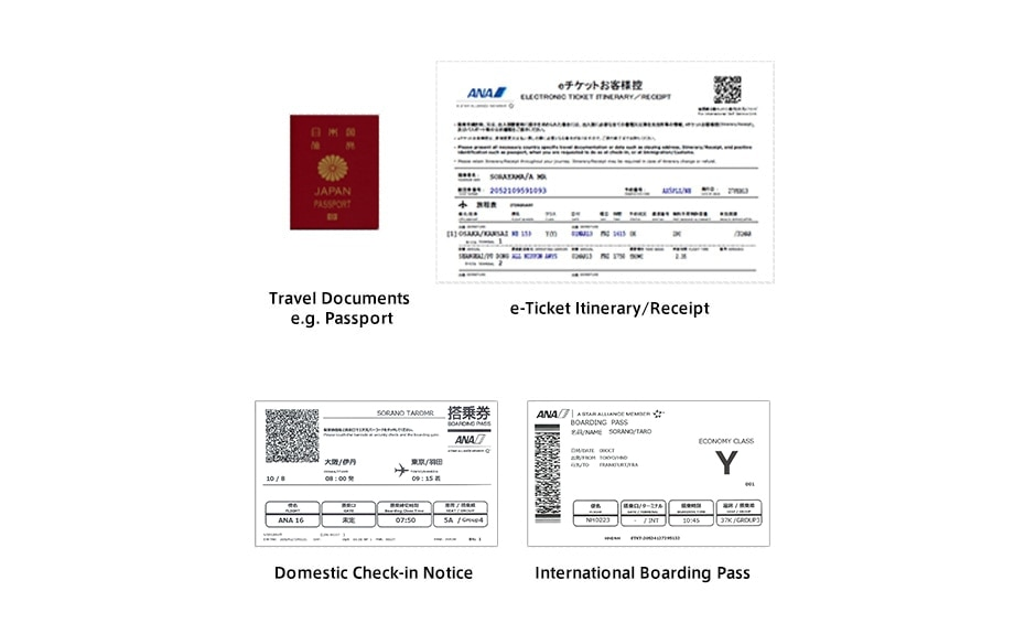 Image of passport and e-ticket receipt