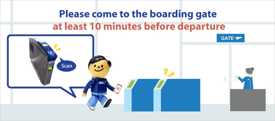 Please come to the boarding gate at least 10 minutes before departure.