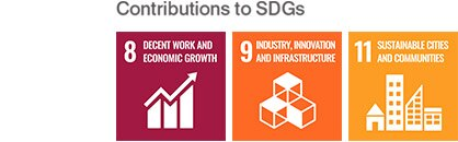 Contributions to SDGs 8: DECENT WORK AND ECONOMIC GROWTH 9: INDUSTRY, INNOVATION, AND INFRASTRUCTURE 11: SUSTAINABLE CITIES AND COMMUNITIES