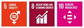 Contributions to SDGs 5: GENDER EQUALITY 8: DECENT WORK AND ECONOMIC GROWTH 10. REDUCED INEQUALITIES