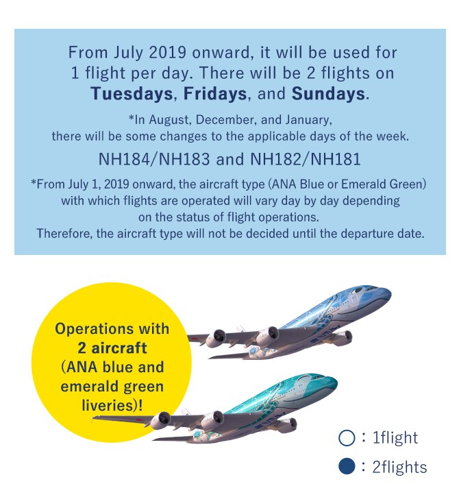 From July 2019 onward, it will be used for 1 flight per day. There will be 2 flights on Tuesdays, Fridays, and Sundays. *In August, December, and January, there will be some changes to the applicable days of the week.