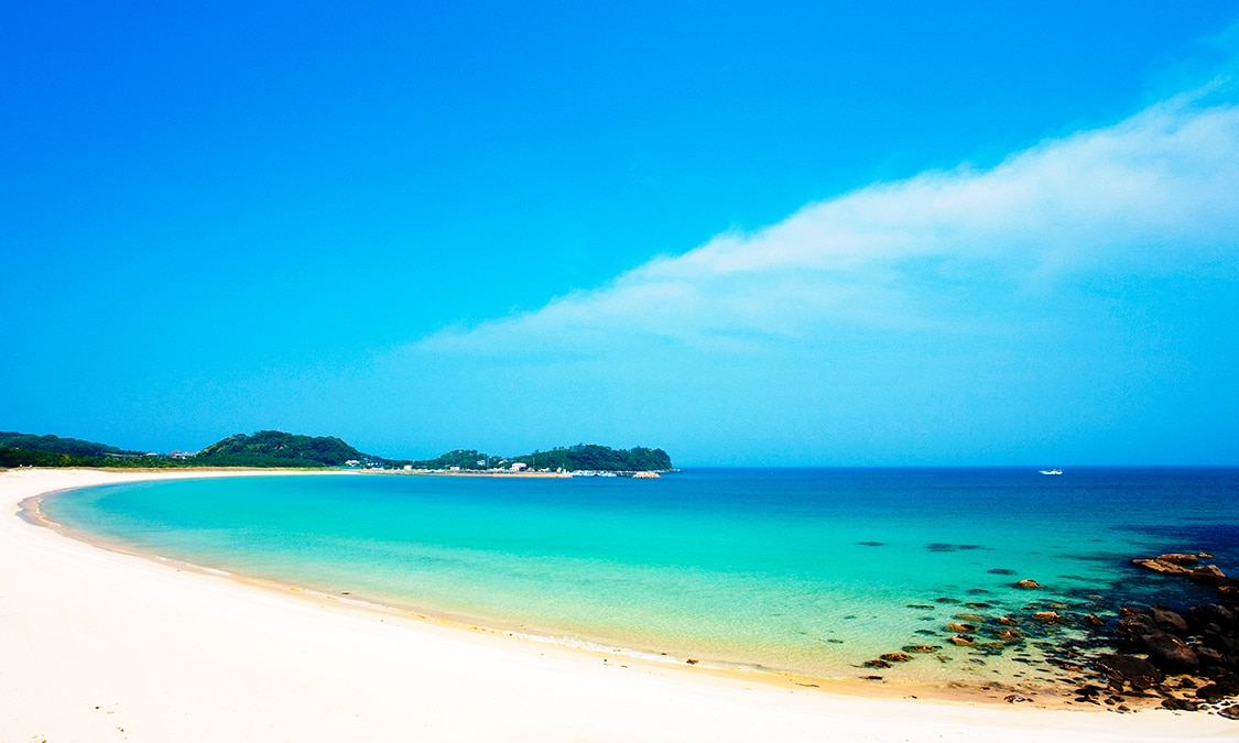 Tsutsuki Nanahama With Its White Sands And Green Pine Trees Comprises A Series Of Beaches That Are Representative