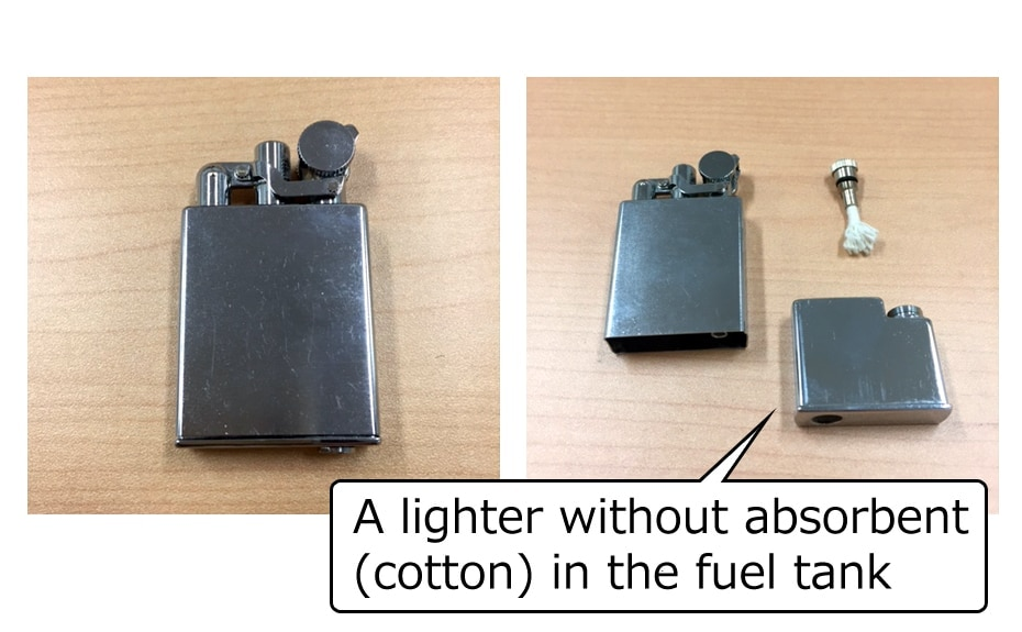 Image of oil tank type lighters without absorbent cotton