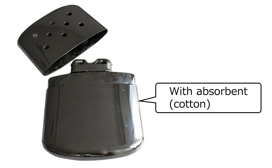 Image of an oil-filling type pocket warmer with absorbent (cotton)