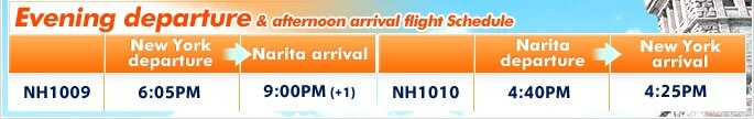 Evening departure & afternoon arrival flight Schedule