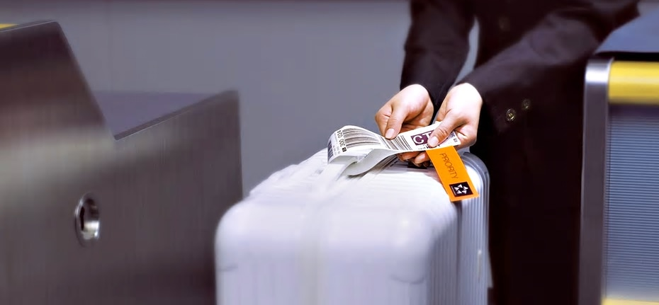 suitcase with priority tag