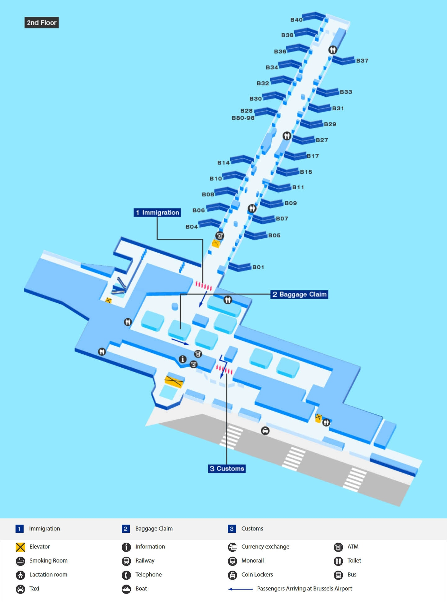Arrival map of Brussels airport