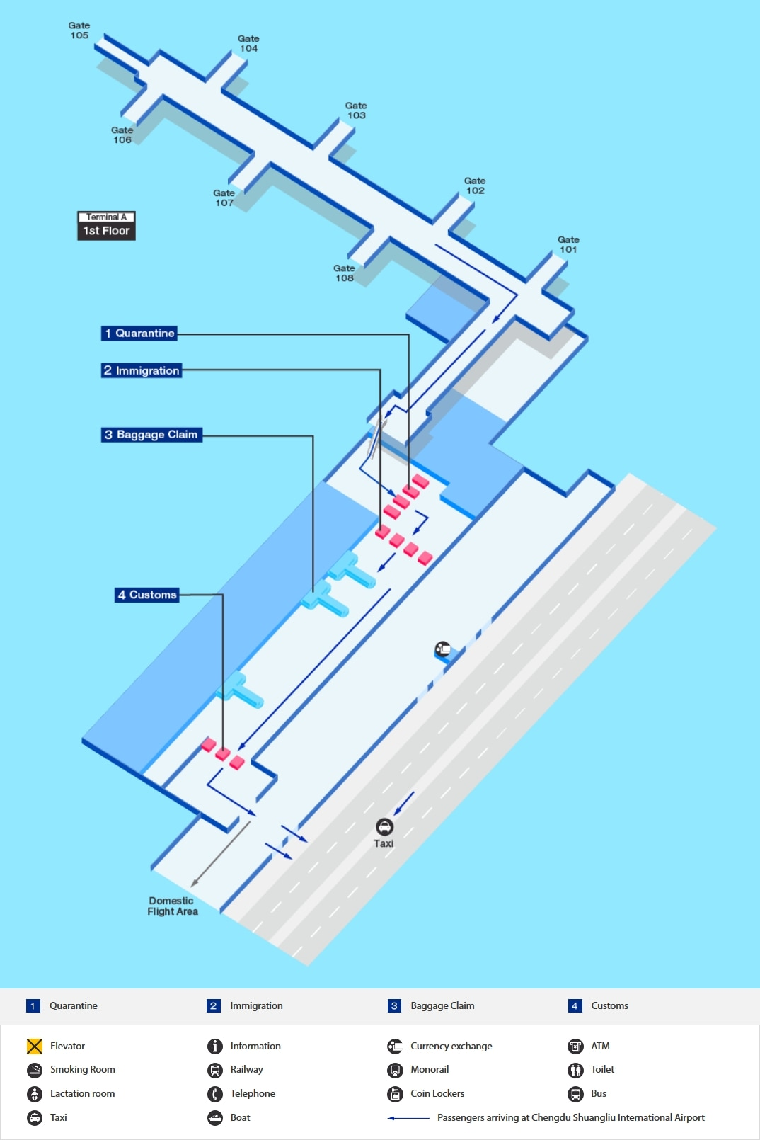 Arrival map of Chengdu airport