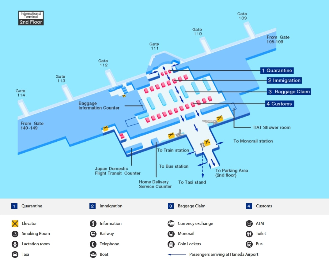 Arrival map of Haneda airport