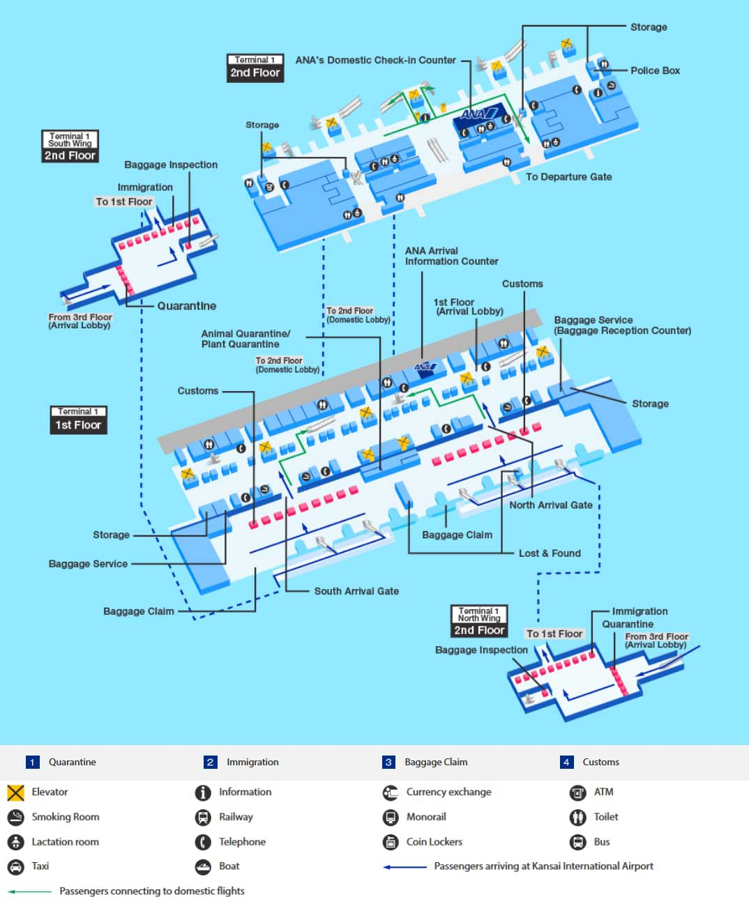 Arrival map of Kansai airport