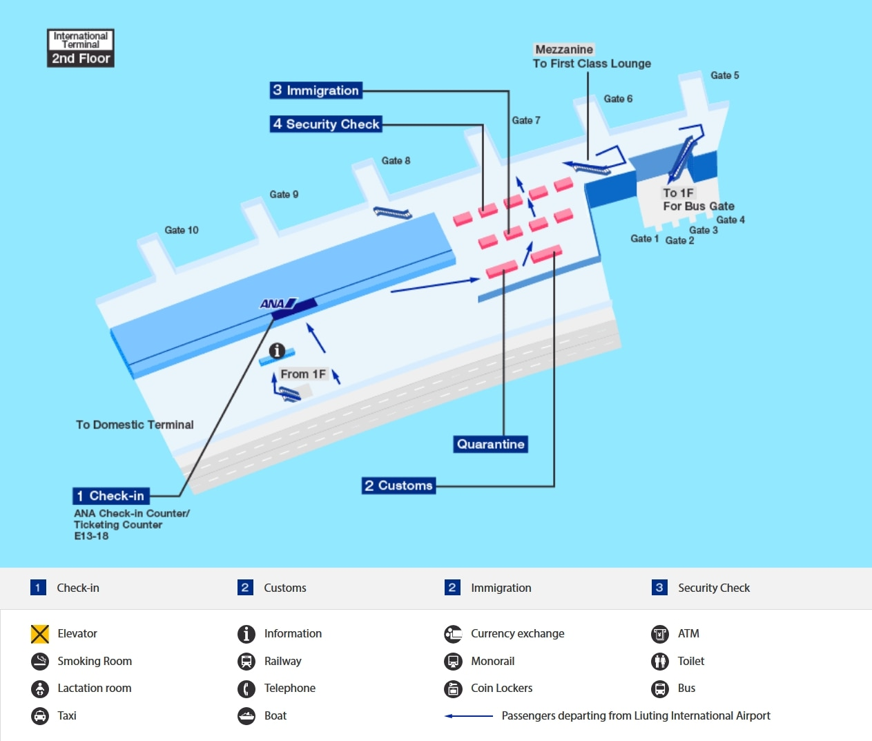 Departure map of Qingdao airport