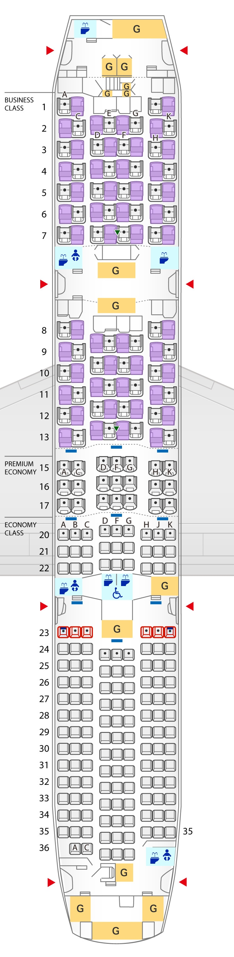 Seat Map of Boeing 787-9 (215 Seats)
