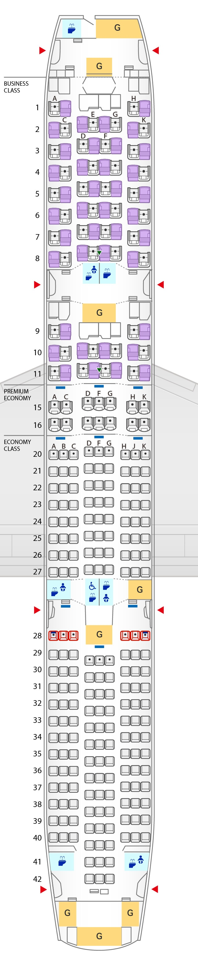 Seat Map of Boeing 787-9 (246 Seats)